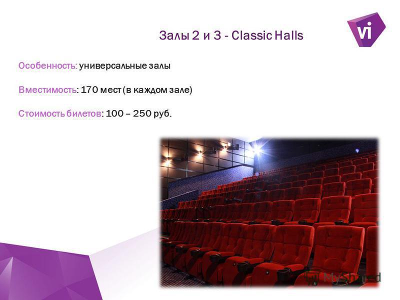 ` Особенность: универсальные залы Вместимость: 170 мест (в каждом зале) Стоимость билетов: 100 – 250 руб. Залы 2 и 3 - Classic Halls