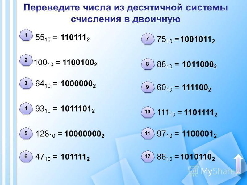 55 10 = 100 10 = 93 10 = 64 10 = 128 10 = 47 10 = 75 10 = 88 10 = 60 10 = 111 10 = 97 10 = 86 10 = 2 2 1 1 3 3 4 4 5 5 6 6 8 8 7 7 9 9 10 11 12 110111 2 1100100 2 1000000 2 1011101 2 10000000 2 101111 2 1001011 2 1011000 2 111100 2 1101111 2 1100001