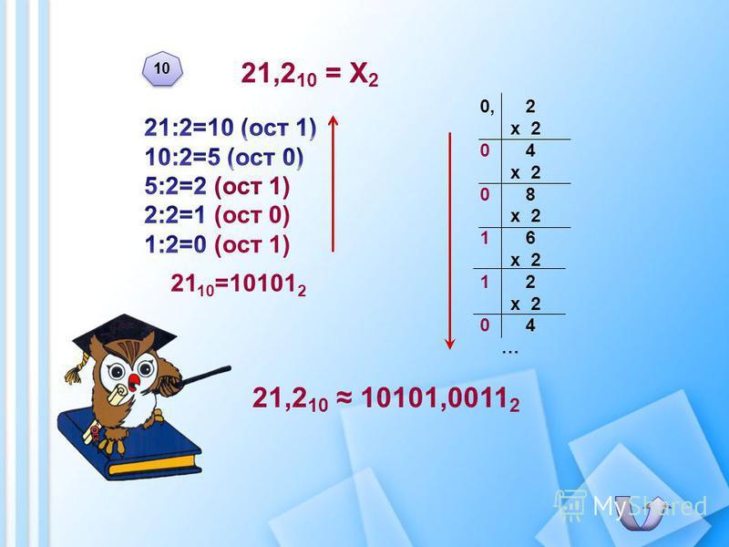 21,2 10 = Х 2 21,2 10 10101,0011 2 0, 2 х 2 0 4 х 2 0 8 х 2 1 6 х 2 1 2 х 2 0 4 … 10