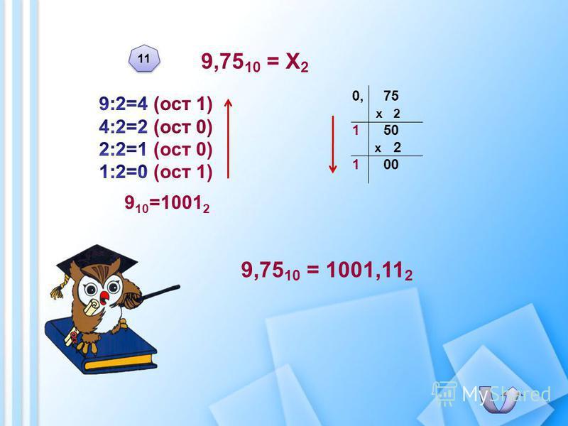 9,75 10 = Х 2 9,75 10 = 1001,11 2 0, 75 х 2 1 50 х 2 1 00 11