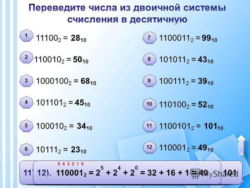 11100 2 = 110010 2 = 101101 2 = 1000100 2 = 100010 2 = 10111 2 = 1100011 2 = 101011 2 = 100111 2 = 110100 2 = 1100101 2 = 110001 2 = 28 10 50 10 68 10 45 10 34 10 23 10 99 10 43 10 39 10 52 10 101 10 49 10 1 1 2 2 3 3 4 4 5 5 6 6 7 7 8 8 9 9 10 11 12