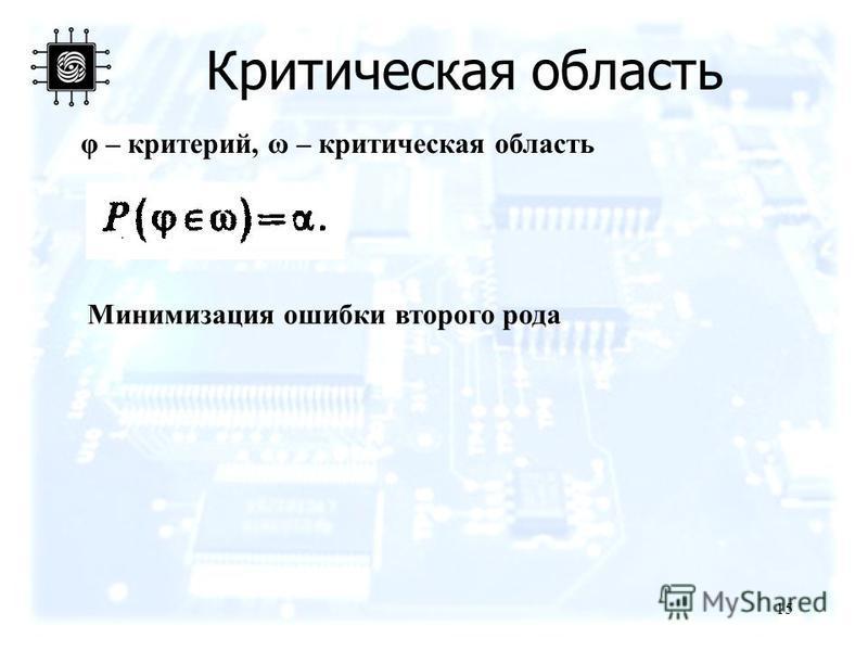 Критическая область 15 φ – критерий, ω – критическая область Минимизация ошибки второго рода