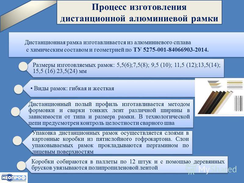 : Процесс изготовления дистанционной алюминиевой рамки Дистанционная рамка изготавливается из алюминиевого сплава с химическим составом и геометрией по ТУ 5275-001-84066903-2014. Размеры изготовляемых рамок: 5,5(6);7,5(8); 9,5 (10); 11,5 (12);13,5(14