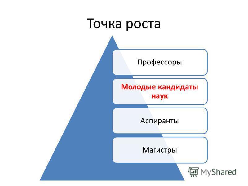 Точка роста Профессоры Молодые кандидаты наук Аспиранты Магистры