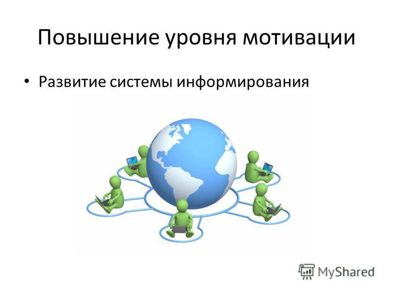 Повышение уровня мотивации Развитие системы информирования