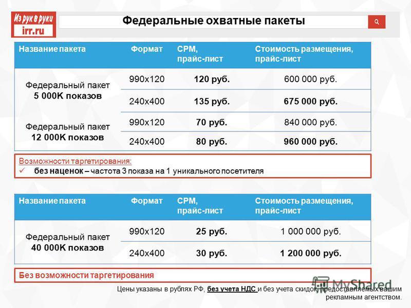 Федеральные охватные пакеты Цены указаны в рублях РФ, без учета НДС и без учета скидок, предоставляемых вашим рекламным агентством. Название пакета ФорматCPM, прайс-лист Стоимость размещения, прайс-лист Федеральный пакет 5 000K показов 990x120120 руб