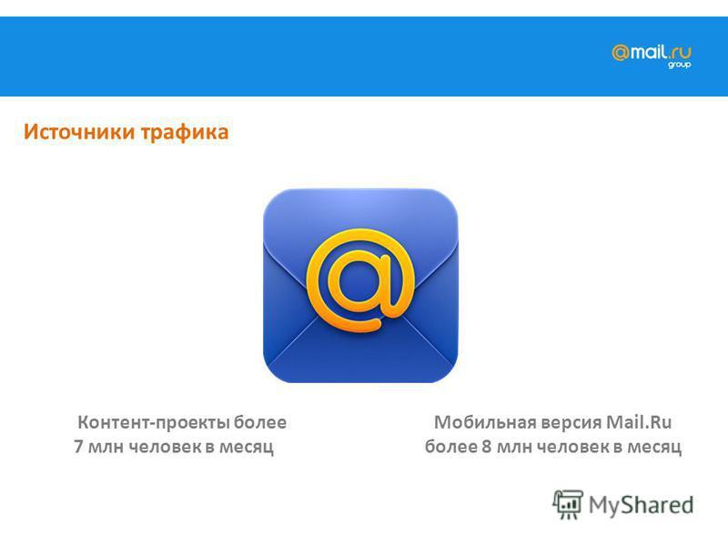 Контент-проекты более 7 млн человек в месяц Мобильная версия Mail.Ru более 8 млн человек в месяц