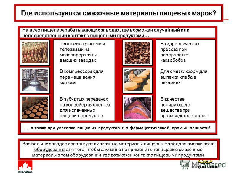 Все больше заводов используют смазочные материалы пищевых марок для смазки всего оборудования для того, чтобы случайно не применить непищевые смазочные материалы в том оборудовании, где возможен контакт с пищевыми продуктами. Где используются смазочн