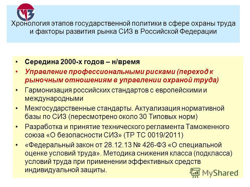 Середина 2000-х годов – н/время Управление профессиональными рисками (переход к рыночным отношениям в управлении охраной труда) Гармонизация российских стандартов с европейскими и международными Межгосударственные стандарты. Актуализация нормативной
