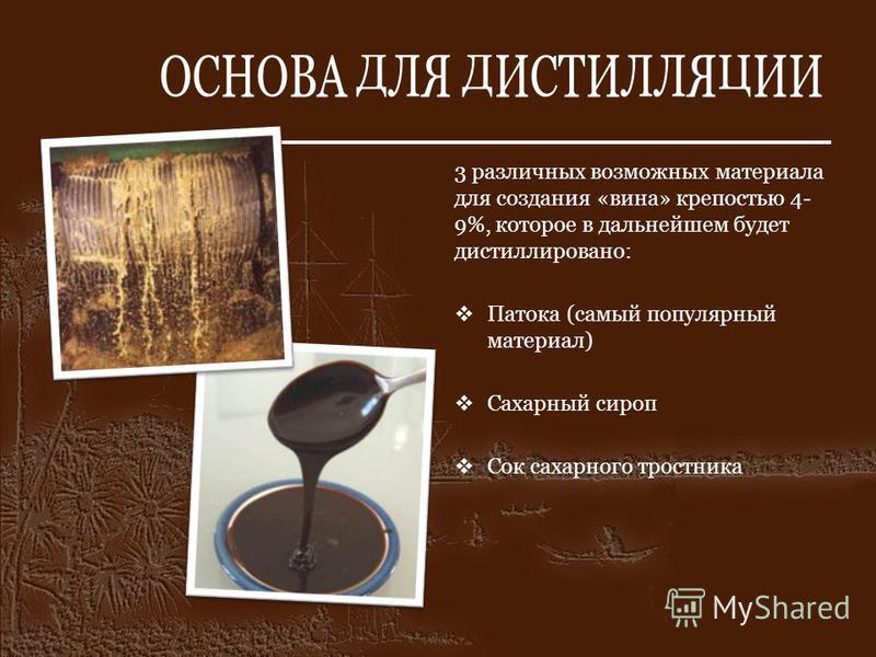 ОСНОВА ДЛЯ ДИСТИЛЛЯЦИИ 3 различных возможных материала для создания «вина» крепостью 4- 9%, которое в дальнейшем будет дистиллировано: Патока (самый популярный материал) Сахарный сироп Сок сахарного тростника