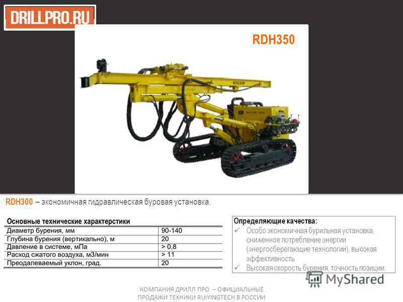 RDH300 – экономичная гидравлическая буровая установка. Определяющие качества: Особо экономичная бурильная установка, сниженное потребление энергии (энергосберегающие технологии), высокая эффективность. Высокая скорость бурения, точность позиции. КОМП