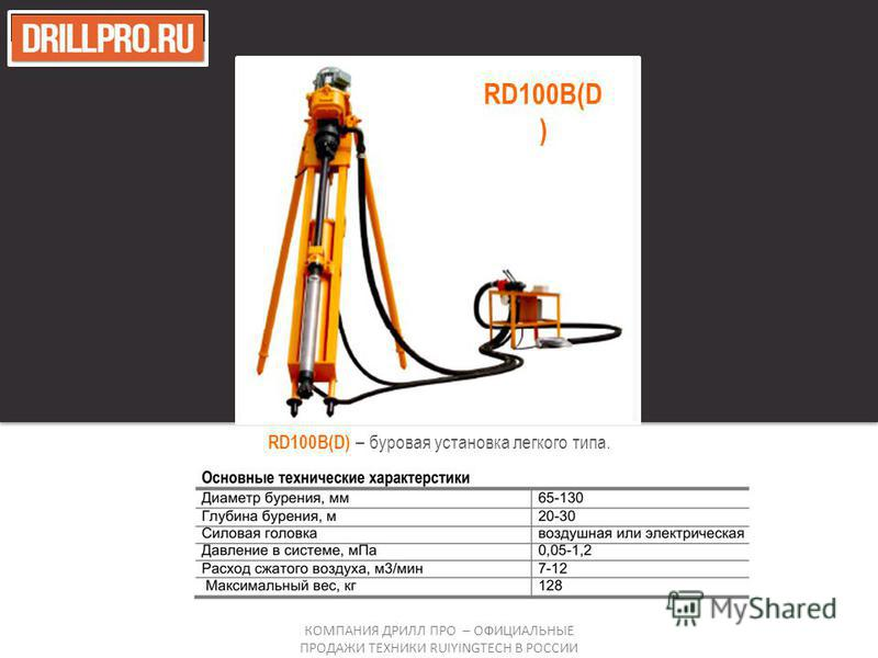 RD100B(D) – буровая установка легкого типа. КОМПАНИЯ ДРИЛЛ ПРО – ОФИЦИАЛЬНЫЕ ПРОДАЖИ ТЕХНИКИ RUIYINGTECH В РОССИИ RD100B(D )