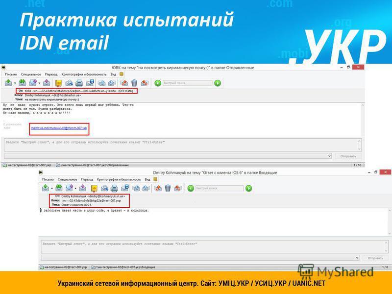 Практика испытаний IDN email 14