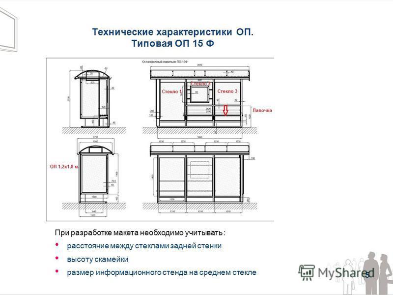 Технические характеристики ОП. Типовая ОП 15 Ф 5 При разработке макета необходимо учитывать : расстояние между стеклами задней стенки высоту скамейки размер информационного стенда на среднем стекле