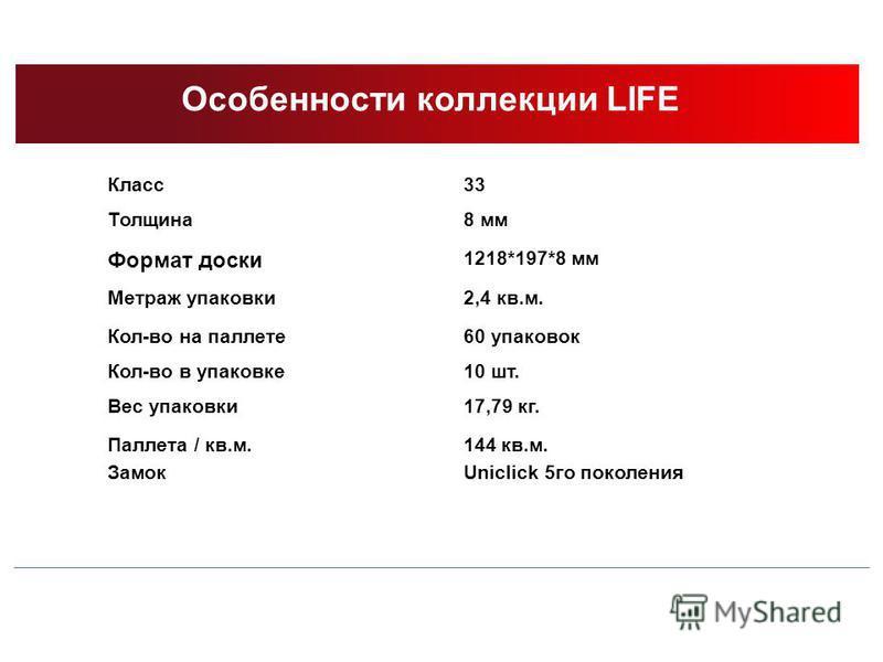 Особенности коллекции LIFE Класс 33 Толщина 8 мм Формат доски 1218*197*8 мм Метраж упаковки 2,4 кв.м. Кол-во на паллете 60 упаковок Кол-во в упаковке 10 шт. Вес упаковки 17,79 кг. Паллета / кв.м. Замок 144 кв.м. Uniclick 5 го поколения