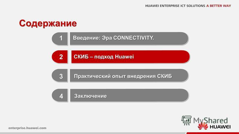 9 Содержание 1 1 3 3 Практический опыт внедрения СКИБ 2 2 СКИБ – подход Huawei Введение: Эра CONNECTIVITY. 4 4 Заключение Заключение