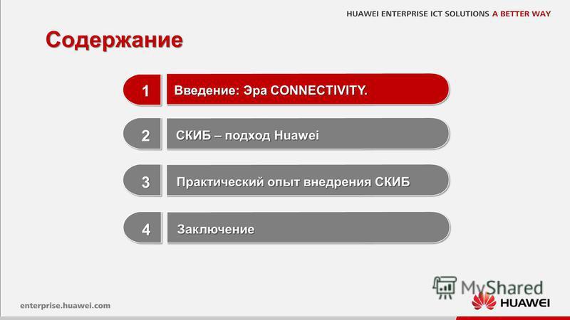1 1 1 3 3 Практический опыт внедрения СКИБ 2 2 СКИБ – подход Huawei Содержание Введение: Эра CONNECTIVITY. 4 4 Заключение Заключение