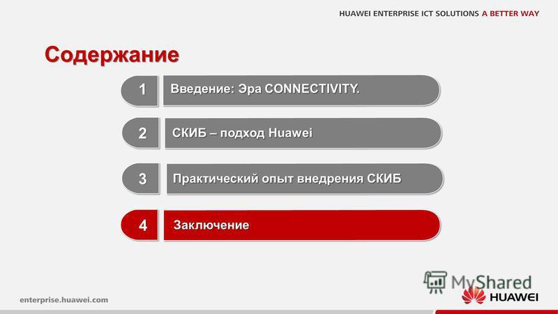 22 Содержание 1 1 3 3 Практический опыт внедрения СКИБ 2 2 СКИБ – подход Huawei Введение: Эра CONNECTIVITY. 4 4 Заключение Заключение