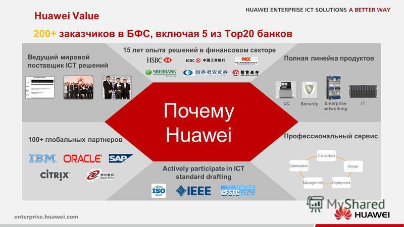 27 Huawei Value Почему Huawei Полная линейка продуктов Профессиональный сервис Actively participate in ICT standard drafting Consultant DeploymentManagement Design Optimization Ведущий мировой поставщик ICT решений 15 лет опыта решений в финансовом с