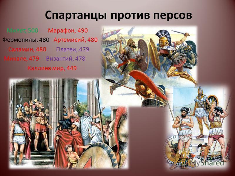 Спартанцы против персов Милет, 500 Марафон, 490 Фермопилы, 480 Артемисий, 480 Саламин, 480 Платеи, 479 Микале, 479 Византий, 478 Каллиев мир, 449