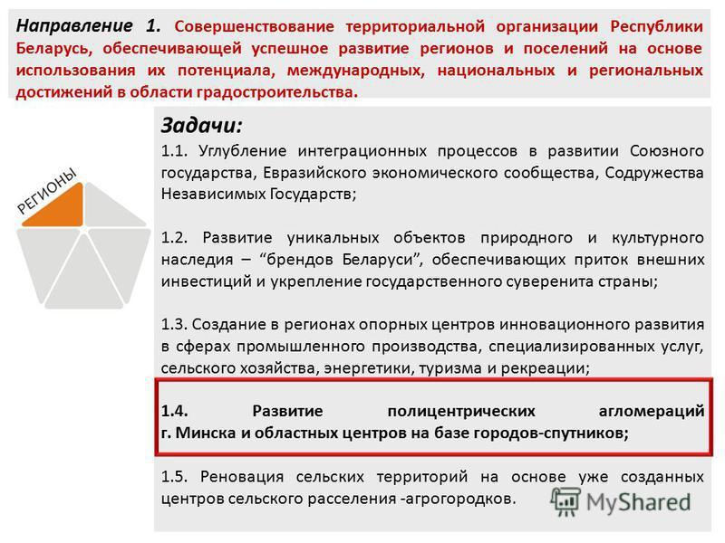 Направление 1. Совершенствование территориальной организации Республики Беларусь, обеспечивающей успешное развитие регионов и поселений на основе использования их потенциала, международных, национальных и региональных достижений в области градостроит