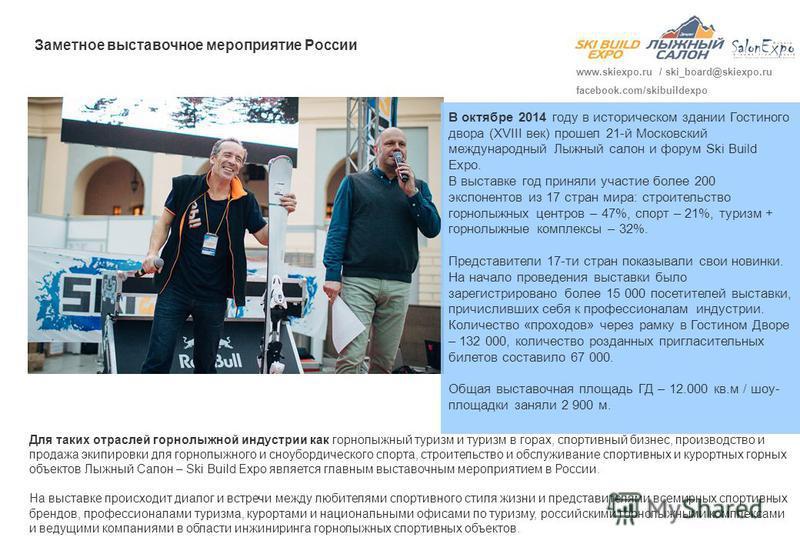 В октябре 2014 году в историческом здании Гостиного двора (XVIII век) прошел 21-й Московский международный Лыжный салон и форум Ski Build Expo. В выставке год приняли участие более 200 экспонентов из 17 стран мира: строительство горнолыжных центров –