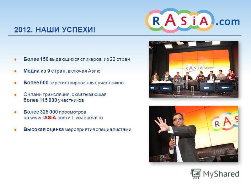 Более 150 выдающихся спикеров из 22 стран Медиа из 9 стран, включая Азию Более 600 зарегистрированных участников Онлайн трансляция, охватывающая более 115 000 участников Более 325 000 просмотров на www.rASiA.com и LiveJournal.ru Высокая оценка меропр