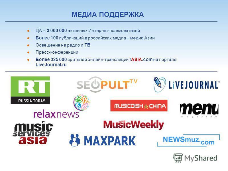 ЦА – 3 000 000 активных Интернет-пользователей Более 100 публикаций в российских медиа + медиа Азии Освещение на радио и ТВ Пресс-конференции Более 325 000 зрителей онлайн-трансляции rASiA.com на портале LiveJournal.ru МЕДИА ПОДДЕРЖКА