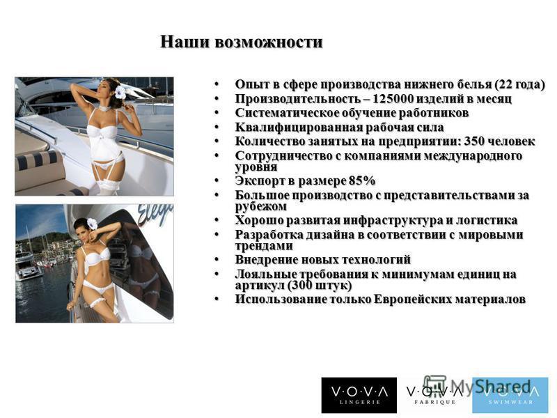 Наши возможности Опыт в сфере производства нижнего белья (22 года) Опыт в сфере производства нижнего белья (22 года) Производительность – 125000 изделий в месяц Производительность – 125000 изделий в месяц Систематическое обучение работников Системати