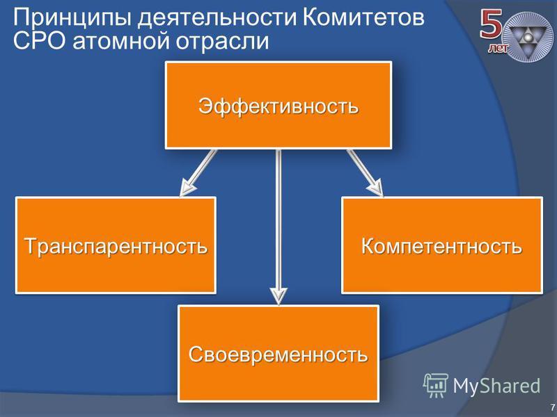 Принципы деятельности Комитетов СРО атомной отрасли 7 Транспарентность Транспарентность КомпетентностьКомпетентность Своевременность Эффективность