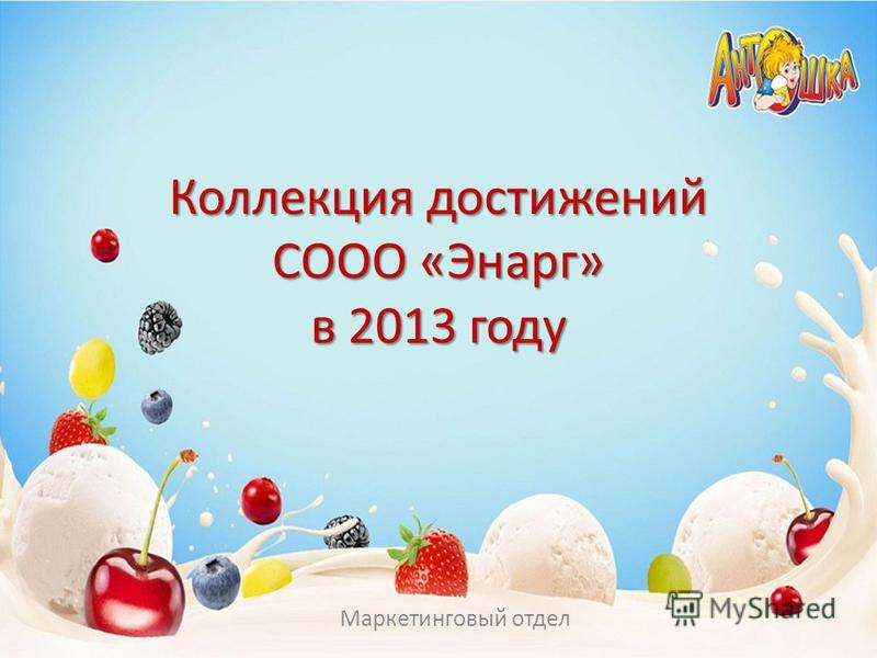 Коллекция достижений СООО «Энарг» в 2013 году Маркетинговый отдел