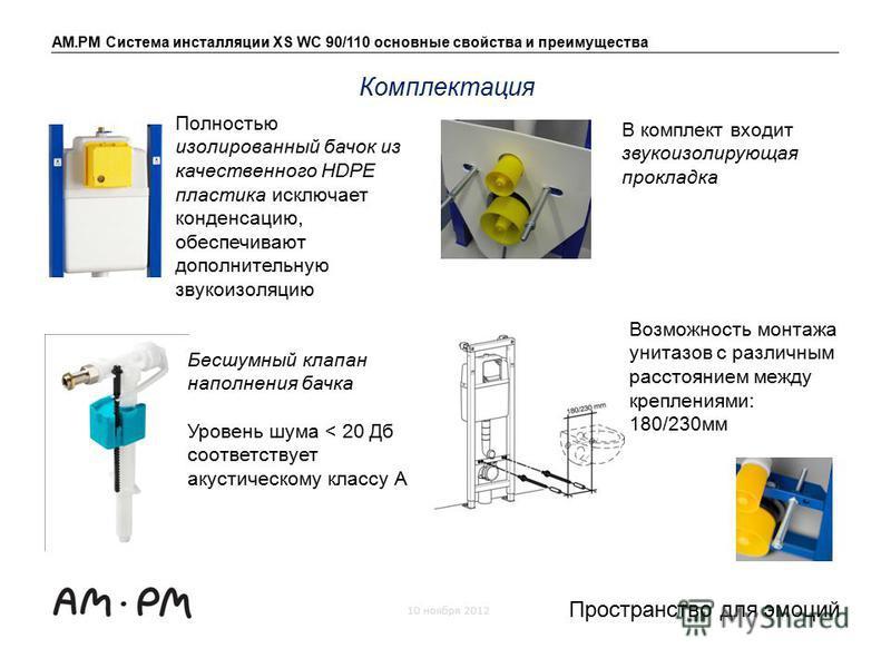 AM.PM Система инсталляции XS WC 90/110 основные свойства и преимущества 10 ноября 2012 Пространство для эмоций Полностью изолированный бачок из качественного HDPE пластика исключает конденсацию, обеспечивают дополнительную звукоизоляцию Комплектация