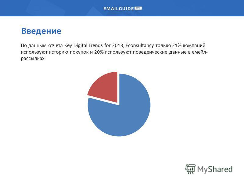 Введение По данным отчета Key Digital Trends for 2013, Econsultancy только 21% компаний используют историю покупок и 20% используют поведенческие данные в мейл- рассылках