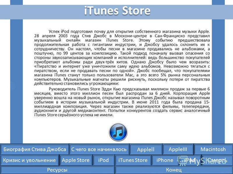 Биография Стива ДжобсаС чего все начиналосьMacintosh Apple Store iPodiTunes StoreiPhoneiPad Смерть Apple II Кризис и увольнение AppleIII iTunes Store Успех iPod подготовил почву для открытия собственного магазина музыки Apple. 28 апреля 2003 года Сти