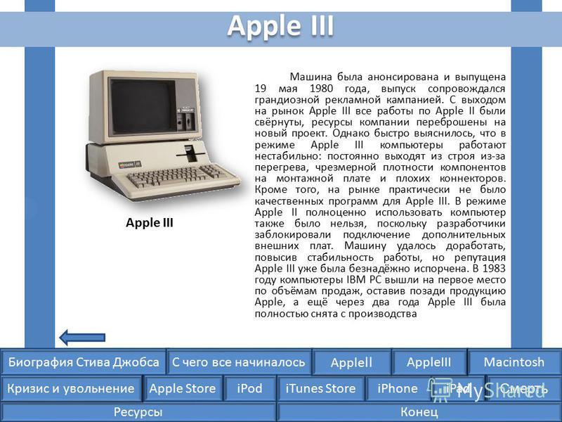 Биография Стива ДжобсаС чего все начиналосьMacintosh Apple Store iPodiTunes StoreiPhoneiPad Смерть Apple II Кризис и увольнение AppleIII Машина была анонсирована и выпущена 19 мая 1980 года, выпуск сопровождался грандиозной рекламной кампанией. С вых