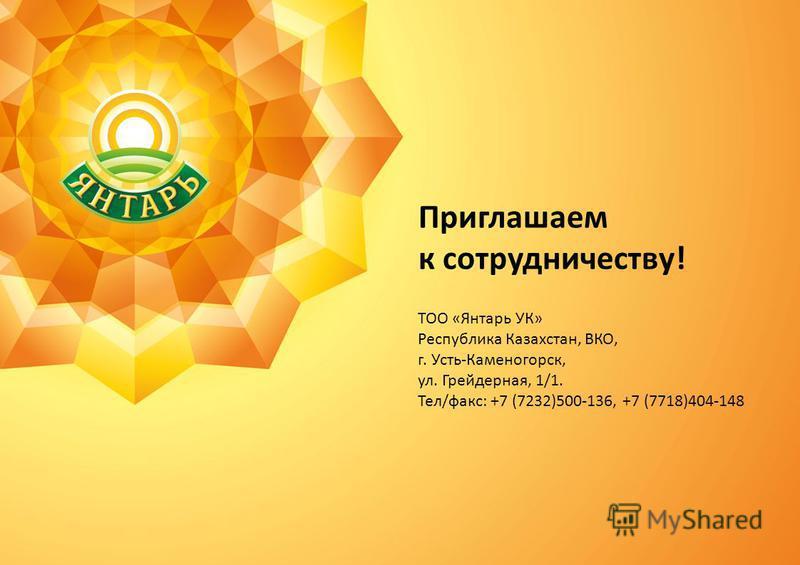 Приглашаем к сотрудничеству! ТОО «Янтарь УК» Республика Казахстан, ВКО, г. Усть-Каменогорск, ул. Грейдерная, 1/1. Тел/факс: +7 (7232)500-136, +7 (7718)404-148