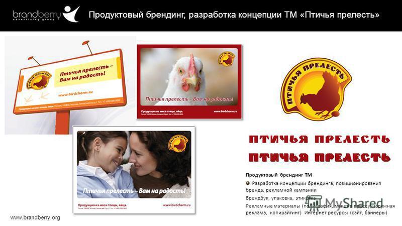 www.brandberry.org Продуктовый брендинг, разработка концепции ТМ «Птичья прелесть» Продуктовый брендинг ТМ Разработка концепции брендинга, позиционирования бренда, рекламной кампании Брендбук, упаковка, этикетка Рекламные материалы (полиграфия, макет