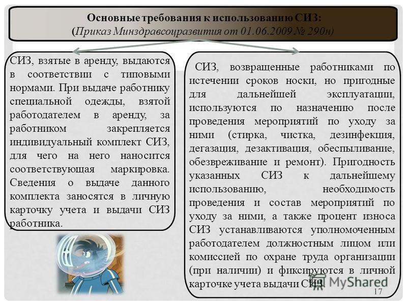 Основные требования к использованию СИЗ: (Приказ Минздравсоцразвития от 01.06.2009 290 н) СИЗ, возвращенные работниками по истечении сроков носки, но пригодные для дальнейшей эксплуатации, используются по назначению после проведения мероприятий по ух