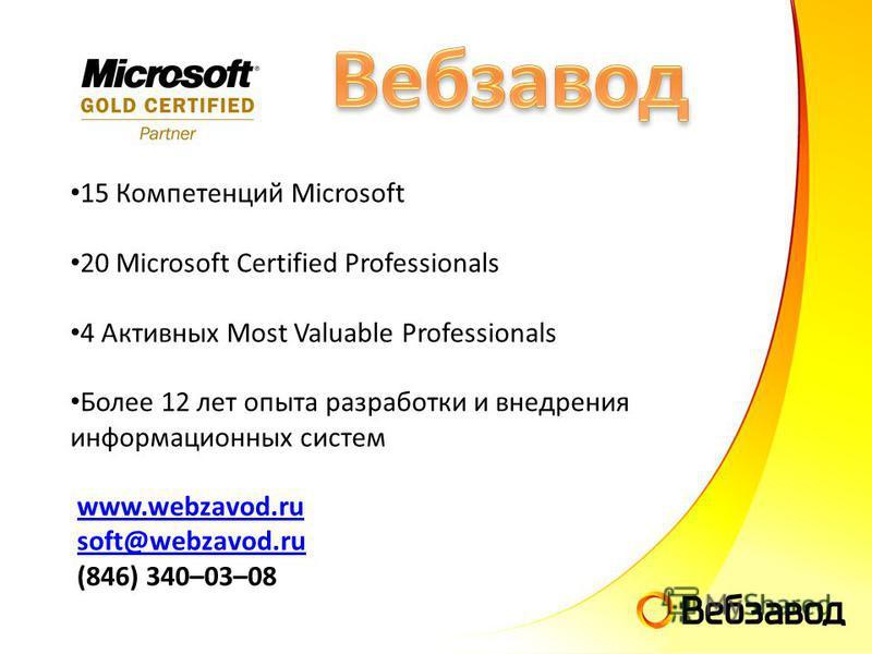15 Компетенций Microsoft 20 Microsoft Certified Professionals 4 Активных Most Valuable Professionals Более 12 лет опыта разработки и внедрения информационных систем www.webzavod.ru soft@webzavod.ru (846) 340–03–08