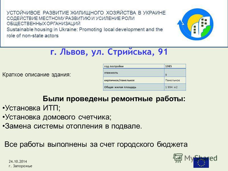 УСТОЙЧИВОЕ РАЗВИТИЕ ЖИЛИЩНОГО ХОЗЯЙСТВА В УКРАИНЕ СОДЕЙСТВИЕ МЕСТНОМУ РАЗВИТИЮ И УСИЛЕНИЕ РОЛИ ОБЩЕСТВЕННЫХ ОРГАНИЗАЦИЙ Sustainable housing in Ukraine: Promoting local development and the role of non-state actors год постройки 1985 этажность 9 кирпич