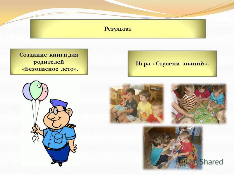 Результат Создание книги для родителей «Безопасное лето». Игра «Ступени знаний».