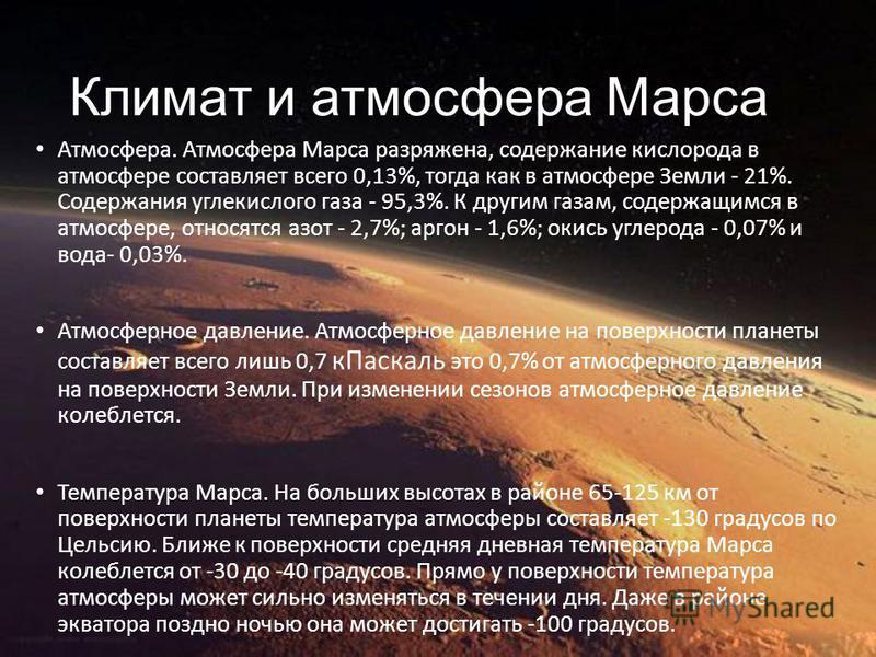 Климат и атмосфера Марса Атмосфера. Атмосфера Марса разряжена, содержание кислорода в атмосфере составляет всего 0,13%, тогда как в атмосфере Земли - 21%. Содержания углекислого газа - 95,3%. К другим газам, содержащимся в атмосфере, относятся азот -