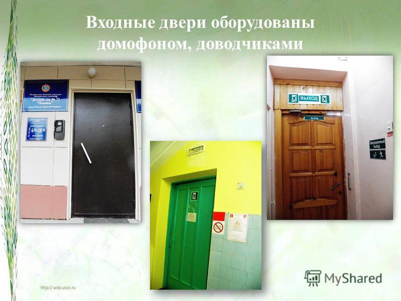 Входные двери оборудованы домофоном, доводчиками
