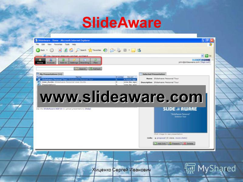 Хиценко Сергей Иванович 8 SlideAware www.slideaware.com