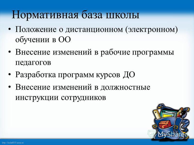 http://linda6035.ucoz.ru/ Нормативная база школы Положение о дистанционном (электронном) обучении в ОО Внесение изменений в рабочие программы педагогов Разработка программ курсов ДО Внесение изменений в должностные инструкции сотрудников