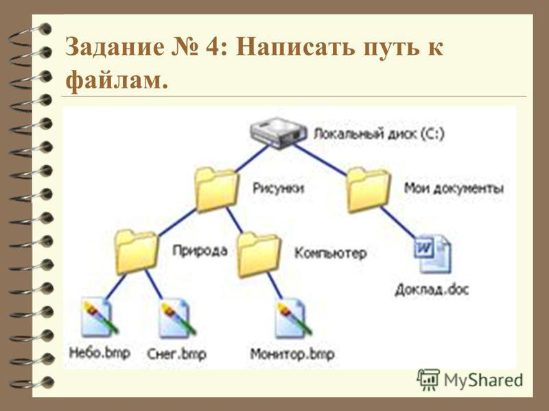 Задание 4: Написать путь к файлам.