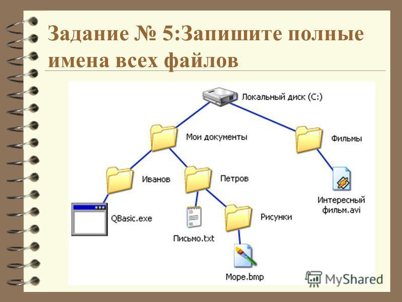 Задание 5:Запишите полные имена всех файлов