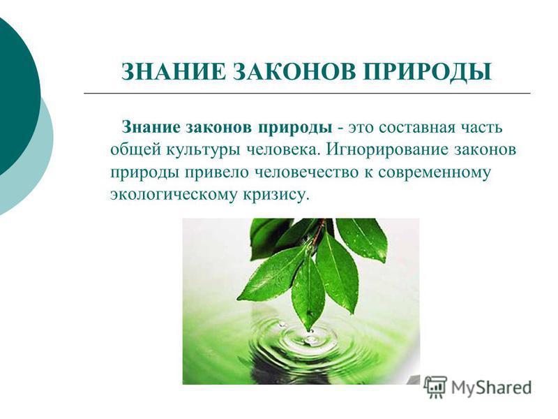 ЗНАНИЕ ЗАКОНОВ ПРИРОДЫ Знание законов природы - это составная часть общей культуры человека. Игнорирование законов природы привело человечество к современному экологическому кризису.