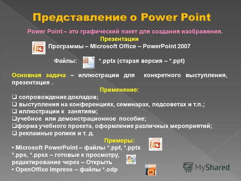 Презентации Программы – Microsoft Office – PowerPoint 2007 Файлы: *.pptx (старая версия – *.ppt) Основная задача – иллюстрации для конкретного выступления, презентация. Применение: сопровождение докладов; выступления на конференциях, семинарах, педсо