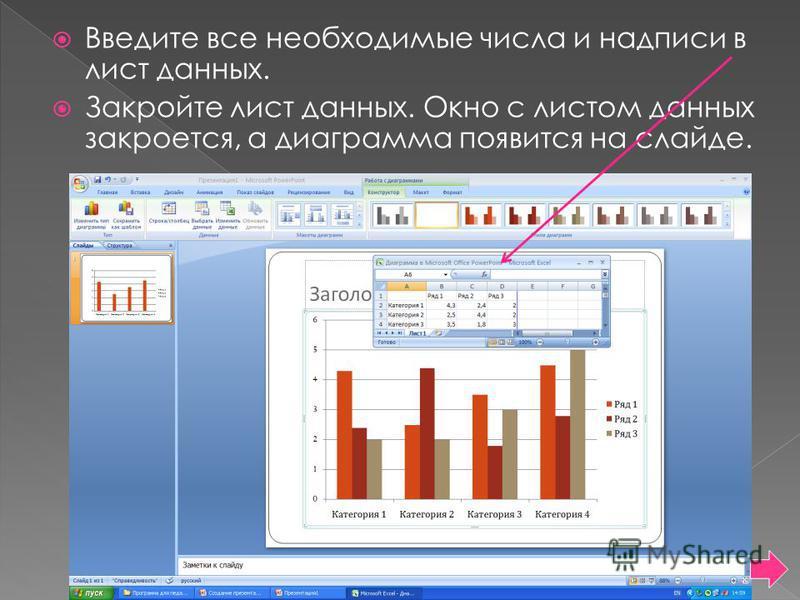Введите все необходимые числа и надписи в лист данных. Закройте лист данных. Окно с листом данных закроется, а диаграмма появится на слайде.